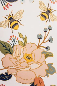 flowers and bees wallpaper print