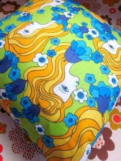 20% Off Code - pommenewyear -Pomme de Jour Vintage Fabric Cushion Cover - Funky 1970s Girl