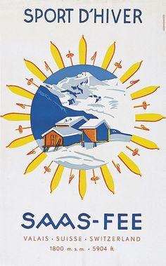 Saas-Fee - sport d'hiver - 1938 - (Mernsinger Wilhelm) -