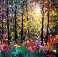 Deep in the Woods by Julie Dumbarton Impressionist Paintings, Landscape Paintings, Acrylic Paintings, Impressionism, Landscapes, Mountain Paintings, Great Paintings, Universe Art, Abstract Painters
