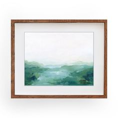 """""""Quiet Place"""" horizontal abstract landscape art print by Kendra Castillo calming green field painting, wall art Framed Artwork, Wall Art, Green Fields, Source Of Inspiration, Abstract Landscape, Watercolor Paper, Order Prints, Calming, Original Paintings"""