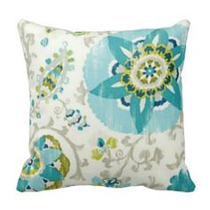 Aqua and Gray Floral pattern throw pillow - visit our site to see our new products   www.prettythrowpillows.com