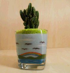 The cereus in glass sand art
