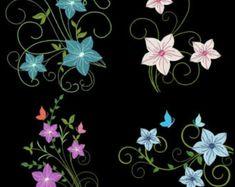 FLEURS de fantaisie (4 pouces) - 12 Machine Embroidery Designs Téléchargement instantané 4 x 4 cerceau (Sarah)