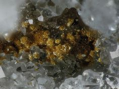 Arseniosiderite, Ca2Fe+++3(AsO4)3O2•3(H2O), on Quartz, Clara Mine, Oberwolfach, Black Forest, Germany. Fov 1.5 mm. Collection: Lithothek der Münchener Micromounter. Copyright: Hannes Osterhammer