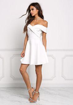 White Off Shoulder Flared Dress - Little White - Dresses Dressy Dresses, Stylish Dresses, Sexy Dresses, Cute Dresses, Fashion Dresses, Dope Clothes, Dress Clothes, Dress Outfits, Cool Summer Outfits
