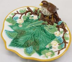 Superb C1870 Antique Ceramic George Jones Majolica Strawberry Dish with Bird