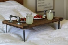 Furniture, Rustic Industrial DIY Breakfast Over The Bed Tray Table Made From Galvanized Pipe Legs And Handle Combined With Reclaimed Wood Tray Table Ideas ~ Bed Tray Table