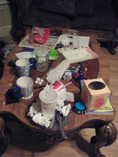 Naturally, your coffee table is a sticky mess too. | 13 Signs You Need To Clean Up Your Act