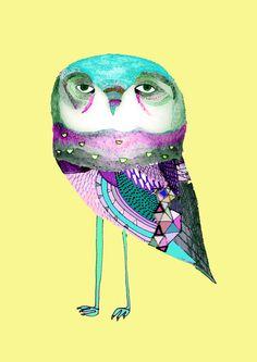 Blue Owl Art Print Ashely Percival My Favorite Owl!