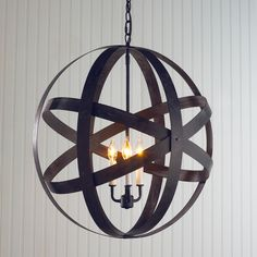 Metal Strap Globe Lantern - Large! Just ordered this pendant light for our basement bath- love it!