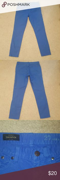 J. Crew Toothpick Jeans J. Crew Toothpick ankle jeans in bright blue color. In great condition. J. Crew Jeans Ankle & Cropped