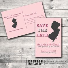 New Jersey Save the Date postcard available at. www.kristenmcgillivray.etsy.com