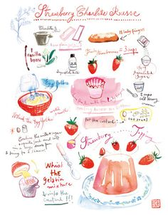 Strawberry Charlotte Russe recipe, Kitchen art print, French cake, Home decor, watercolor, fruit dessert, 8X10 poster, pink illustration
