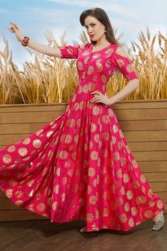 Pink Raw Silk Foil Printed Designer Salwars-SL8393