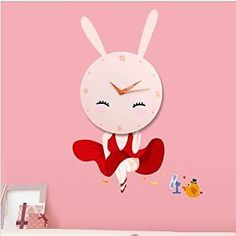 Graces Dawn Newest Indoor / Outdoor DIY Creative Green Still Stickers Wall Clock Modern Design -Contemporary Abstract Wall Clock - Numbers (Bunny): Home & Kitchen