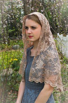 Evintage Veils~ Champagne Taupe Soft Lace Wrap Scarf Mantilla Chapel Veil