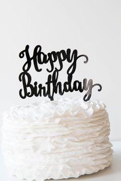Happy Birthday Cake Topper -  Black - Pink Poppy Party Shoppe - 2