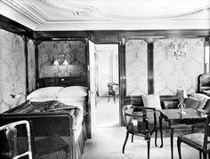 First class parlour suite B60, Titanic. The FirstClass suites were decorated in various period styles and came equipped with many modern electrical appliances, such as telephones, heaters, steward call bells, table fans and electrical blowers to provide fresh air.Many of the first class cabins on Titanic had interconnecting doors so that occupants could walk directly from one room to another. For example, the master of the household might occupy 1st br,w/ children in 2nd, in 3rd