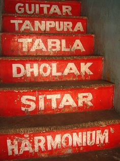 Musical stairs leading to a musical instrument shop in Chandni Chowk. From Meena Kadri's Collection of Indian Street Graphics. Indian Prints, Indian Art, Indian Musical Instruments, Music Instruments, Stair Art, Design Observer, India Street, World Street, India Design