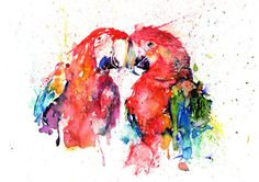 Original Macaw Parrot Couple Watercolor Art Print, Watercolor Print, Poster, Giclee Print [ANI 36-1] by paintersville. Explore more products on http://paintersville.etsy.com