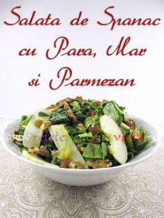 #Reteta de salata de spanac cu para, mar si parmezan, garnisita cu seminte de floarea soarelui, nuci si stafide si cu un dressing delicios!