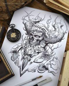 Inktober day 3 :) by dibujante-nocturno drawing ideas в 2019 Badass Drawings, Dark Art Drawings, Tattoo Drawings, Ink Illustrations, Illustration Art, Dark Fantasy, Fantasy Art, Tatoo Geek, Dibujos Tattoo