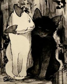 """""""Take Care of Each Other"""" Original Painting by Raphaël Vavasseur Art Original Painting - Kunst - Cat Drawing Illustration Art, Illustrations, Cat Drawing, Cat Love, Crazy Cats, Cat Art, Cats And Kittens, Cats 101, Ragdoll Kittens"""