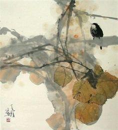 Qin Tianzhu (Chinese, b. Zen Painting, Japanese Painting, Chinese Painting, Japanese Art, Watercolor And Ink, Watercolor Paintings, Watercolors, Art Chinois, Chinese Artwork
