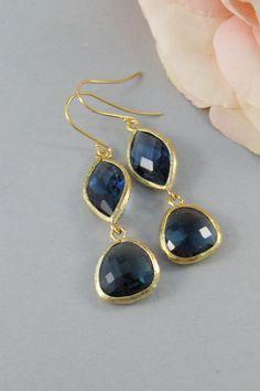 Daughter Of The Sea,Earrings,Sapphire Earring,Gold Earrings,Sapphire,Stone,Blue,Wedding,Bride,Crystal. Handmade by valleygirldesigns.