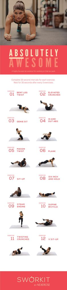 (Abs)olutely Awesome custom workout for Sworkit for iOS and Android. If you have the Sworkit app, you can import this workout directly into the app: http://m.sworkit.com/share?w=Absolutely-Awesome https://www.pinterest.com/Yeshuaschild/