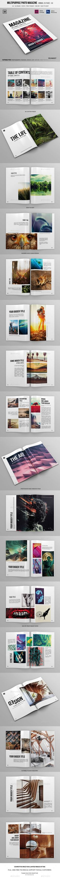 Multipurpose A4 Photo Magazine 36 Pages by Novocaina Professional and clean Photoshop and InDesign magazine template. 36 pages for any content and business you want. The files are pri