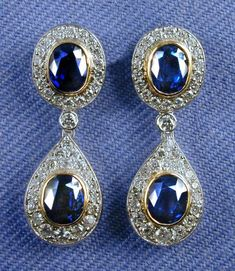Sapphire Jewelry, Sapphire Earrings, Gemstone Jewelry, Royal Jewelry, Luxury Jewelry, Vintage Jewelry, Queens Jewels, Diamond Ice, Cute Earrings