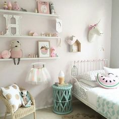 Shop Online www.jomamikids.com  cool Kids Shop deco and lovely things. Pretty pink, white and mint girls room with the cutest little decorations.