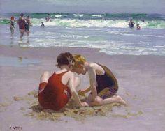 Edward Henry Potthast (1857-1927) Beach Scene