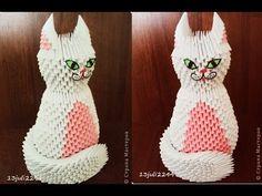 How to make 3D Origami White Cat - Hướng dẫn xếp con Mèo trắng