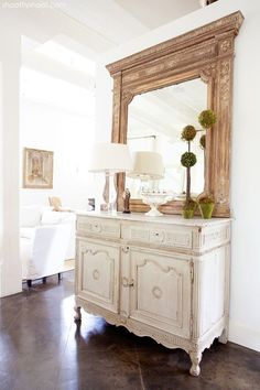 Lovely large wood mirror.