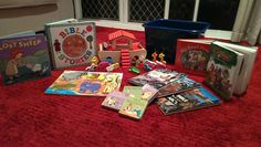 Toddler Sabbath Box. Special things just for Sabbath - Noah's ark toys, animal puzzles, bible story books and CDs