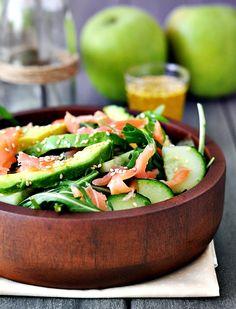 smoked salmon & avocado & rocket salad