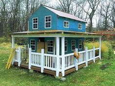 Alluring yet quaint, the Country Cottage playhouse plan will help your kids get away from it all. Incorporates 2 stories, warp around porch and shed windows. Kids Playhouse Plans, Outside Playhouse, Backyard Playhouse, Build A Playhouse, Playhouse Kits, Simple Playhouse, Outdoor Playhouses, Backyard Fort, Girls Playhouse