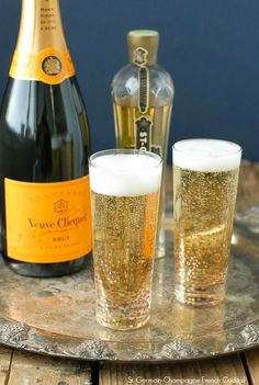 St. Germain-Champagne French Cocktail.  A bubbly, festive cocktail lightly flavored with elderflower liqueur and traditional Champagne! Perfect for celebrating or toasting a new year!  - BoulderLocavore.com