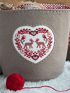 red cross stitch from Gorsuch Embroidery Hearts, Embroidery Bags, Cross Stitch Embroidery, Cross Stitch Designs, Cross Stitch Patterns, Do It Yourself Inspiration, Cross Stitch Finishing, Cross Stitch Heart, Christmas Cross