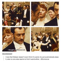 He's totally used to this kind of nonsense. Sherlock Holmes and Watson dance.