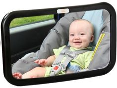 Baby Caboodle Backseat Baby Mirror - Extra Large - Ideal for Rear-Facing Infant Car Seats - Adjustable, 360 Degree View - Crystal Clear Viewing - Shatterproof