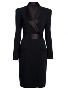 A feminine take on a masculine tuxedo jacket, the Temperley London Paloma Dress. Love this business look.