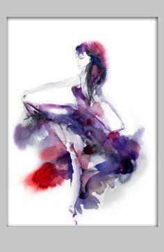 Danseuse tirage d'Art d'origine peinture aquarelle par SophieRR
