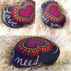 Love is all you need. #paintedstones #beachrocks #heart #heartrock #handpainted #socalartist #shadowdanceglass
