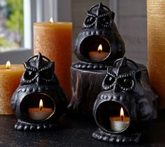 With wide eyes that glow in the dark, our sculptural owl looks haunting hanging from tree limbs. Display several with our flameless votives for a worry-free night of candlelight. Owl Pictures, Owl Pics, Candle Lanterns, Candles, Votive Holder, Thanksgiving Decorations, Thanksgiving Ideas, Owl Art, Sculpture