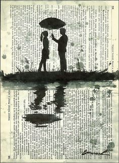 Print Art canvas Christmas gift signed Ink Drawing Love Painting Illustration Couple Umbrella Autographed artist Emanuel Ologeanu wall decor