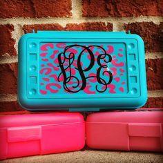 Personalized Pencil Box, Leopard Print, Crayon Box, School Box, School Supplies, Personalized Crayon Box, Pencil Case, Plastic Pencil Box by customvinylbydesign on Etsy